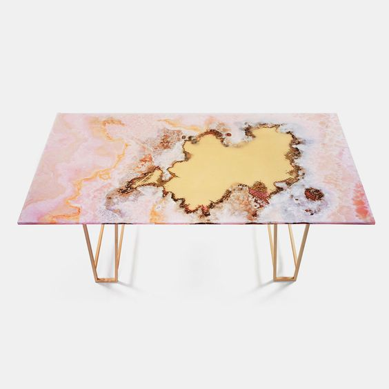 mesa marmol rosa