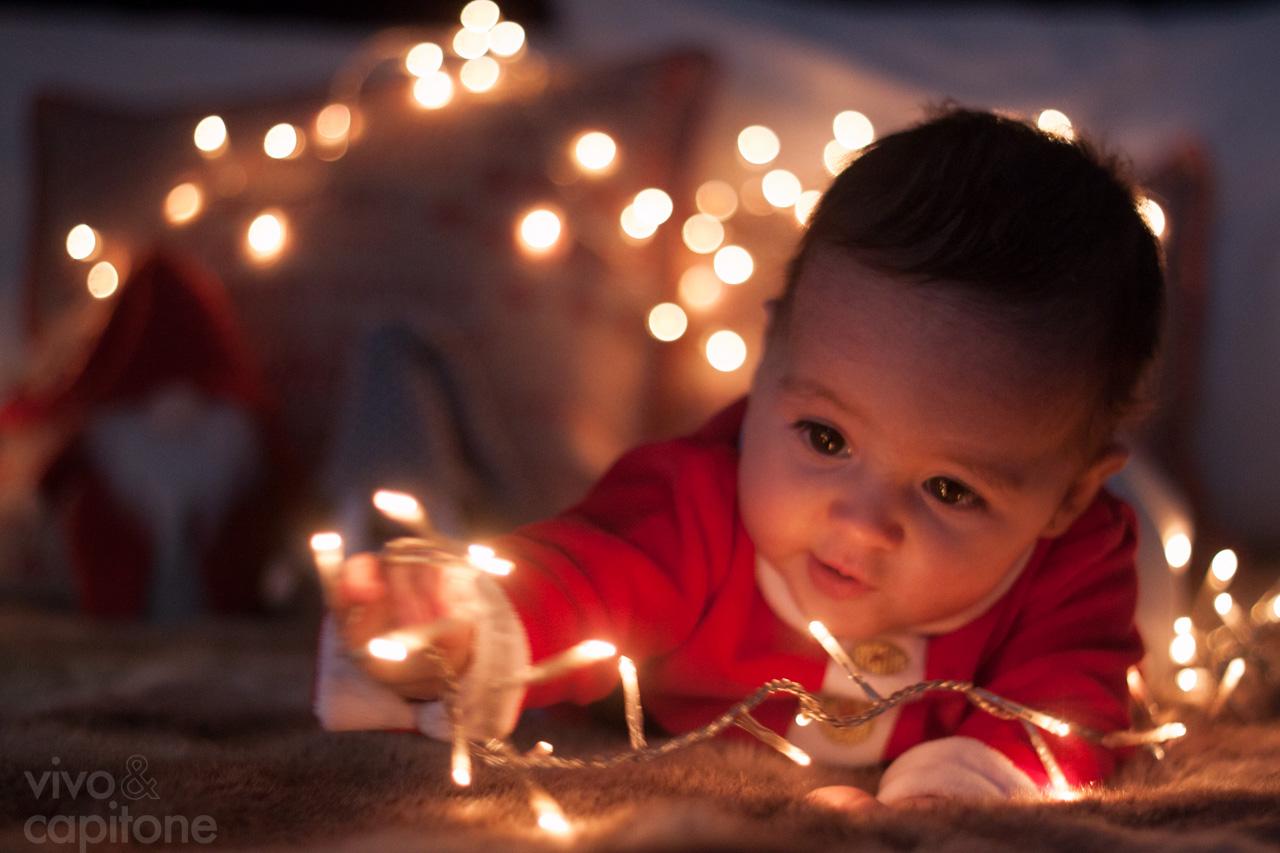 jugando con las luces de navidad