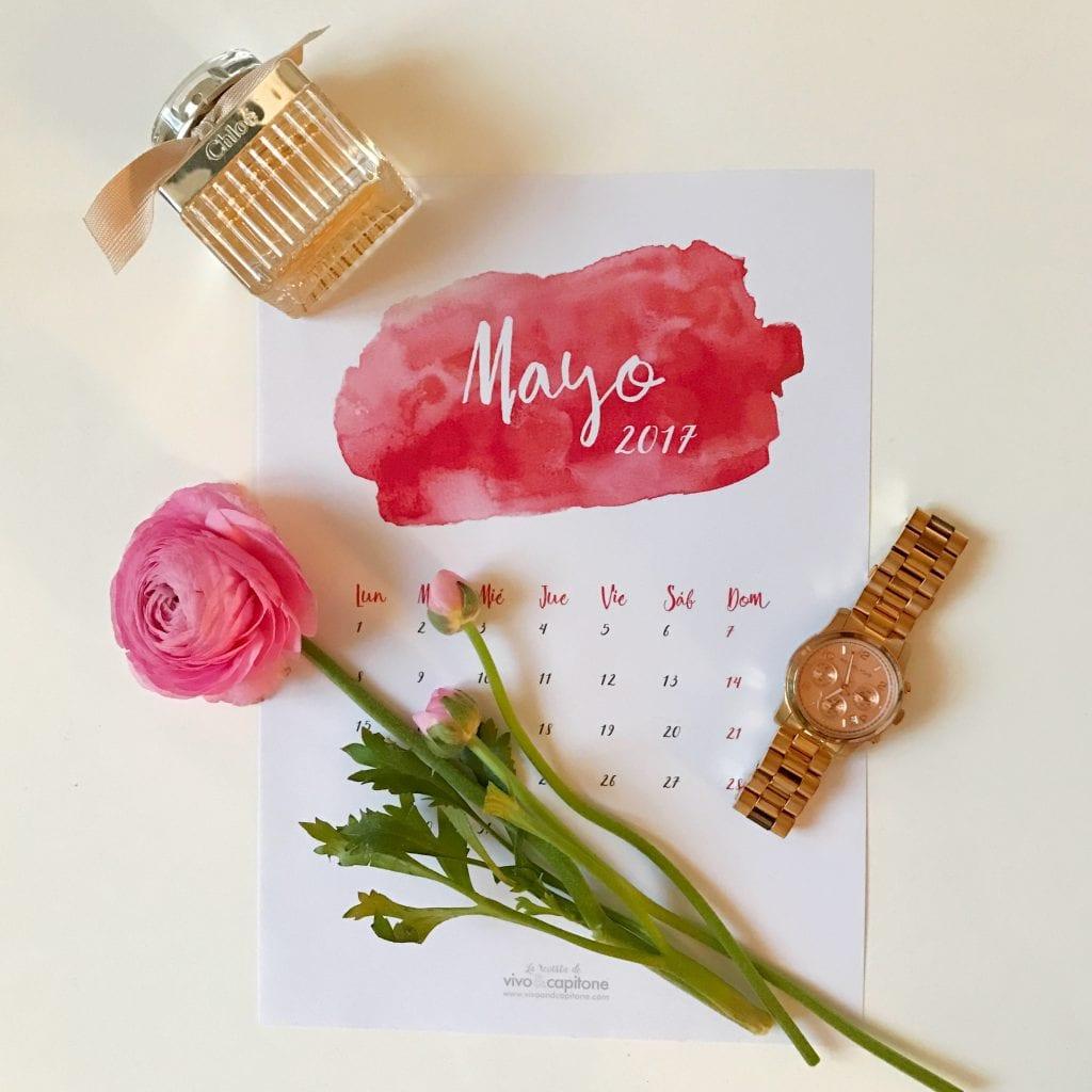 Calendarios para imprimir Mayo 2017
