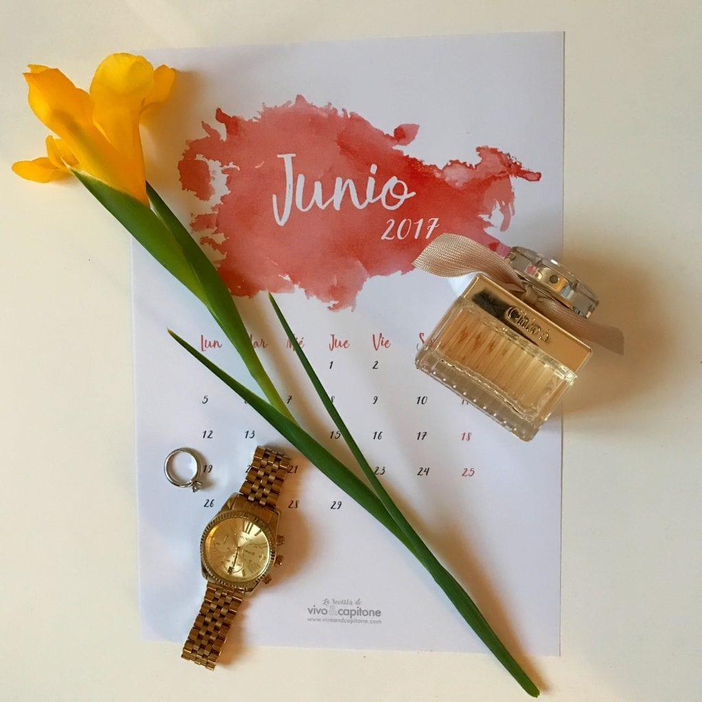 calendarios para imprimir Junio 2017
