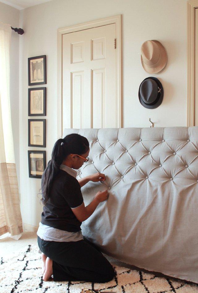 Cabecero tapizado capitoné DIY